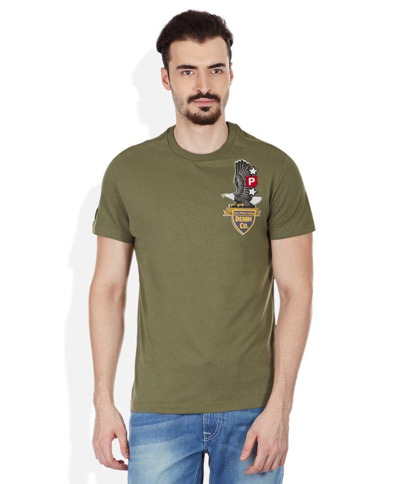 U.S. Polo Assn. Green Round Neck T Shirt