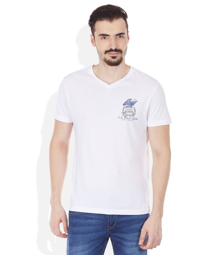 U.S. Polo Assn. White V-Neck T Shirt