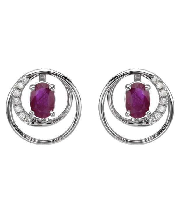 Videe Real Diamond Lab Ruby 92.5 Sterling Silver Earrings