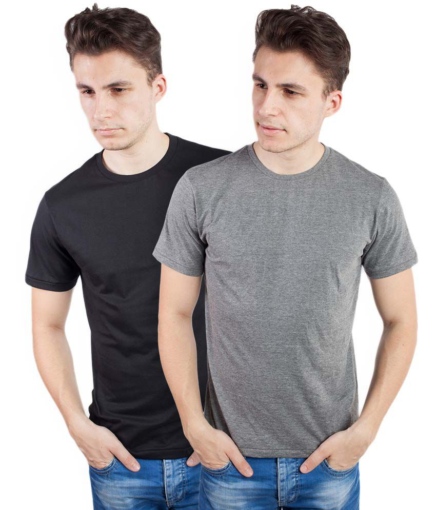Tomo Multicolor Cotton Round Neck Half Sleeve Basics T-Shirt - Combo of 2