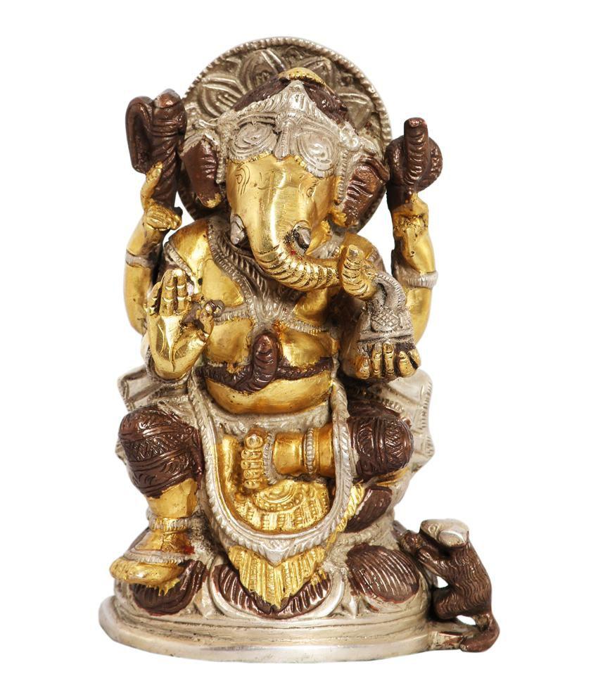 Ark Creation Glossy Brass Ganesha Idol