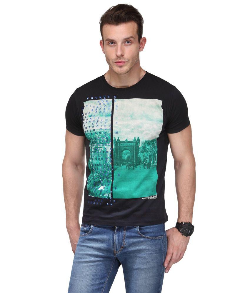 Global Republic Black Cotton Blend Half Sleeve Round Neck Printed T Shirt