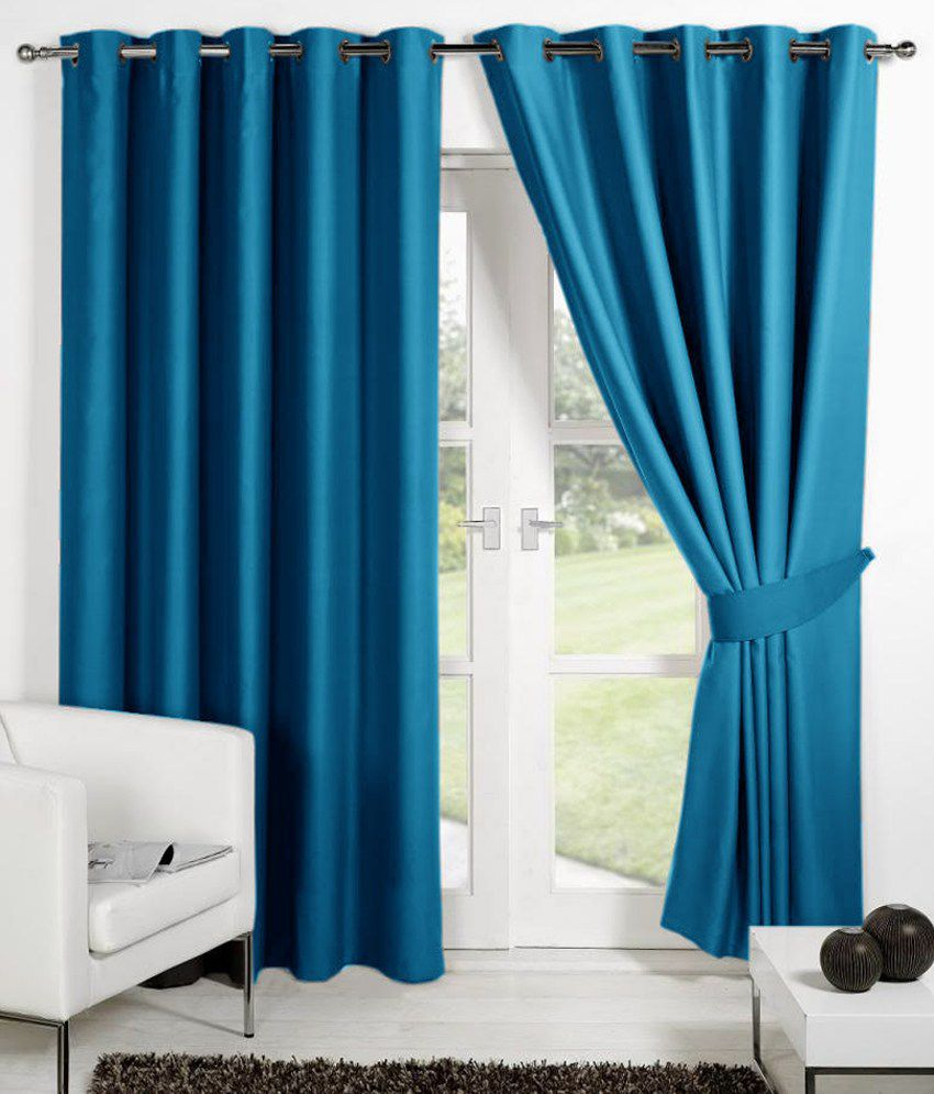 HOMEC Set of 4 Long Door Eyelet Curtains Solid Blue