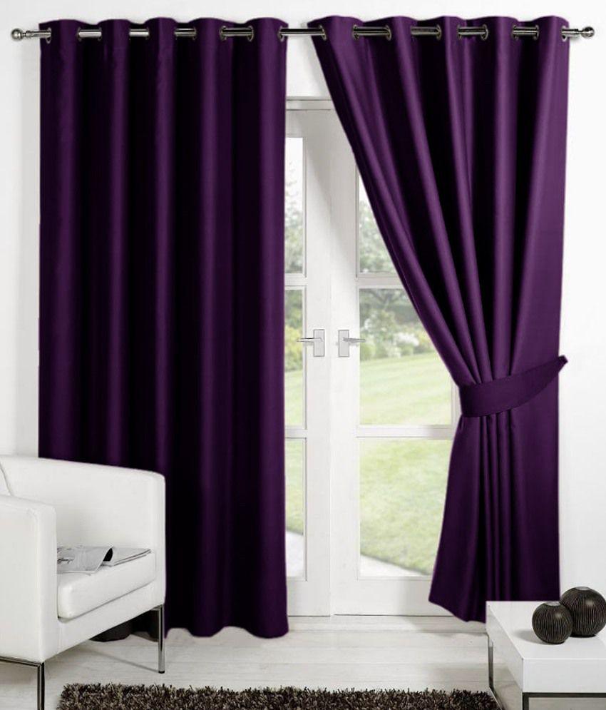 HOMEC Set of 4 Long Door Eyelet Curtains Solid Purple