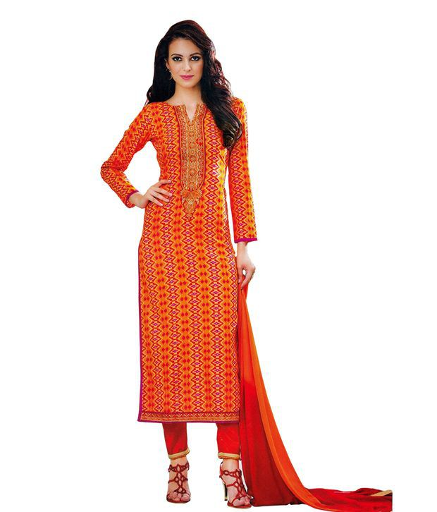 Ladyline Orange Cotton Unstitched Dress Material