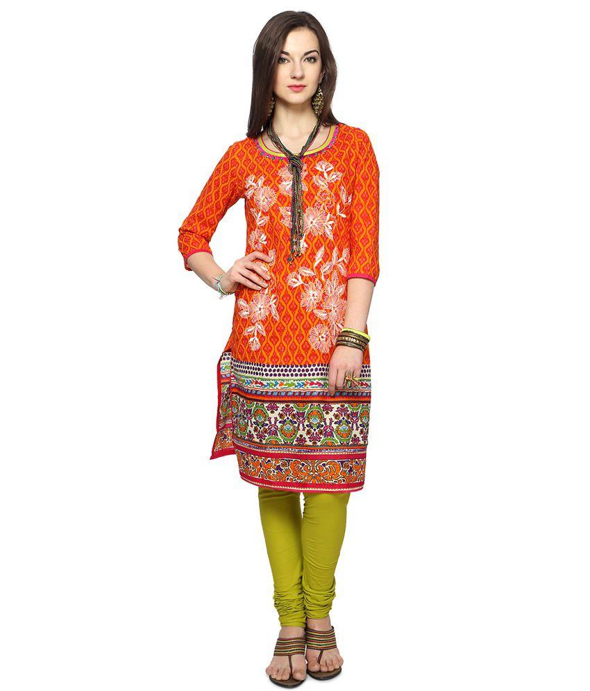 Rangmanch by Pantaloons Orange Cotton Kurti