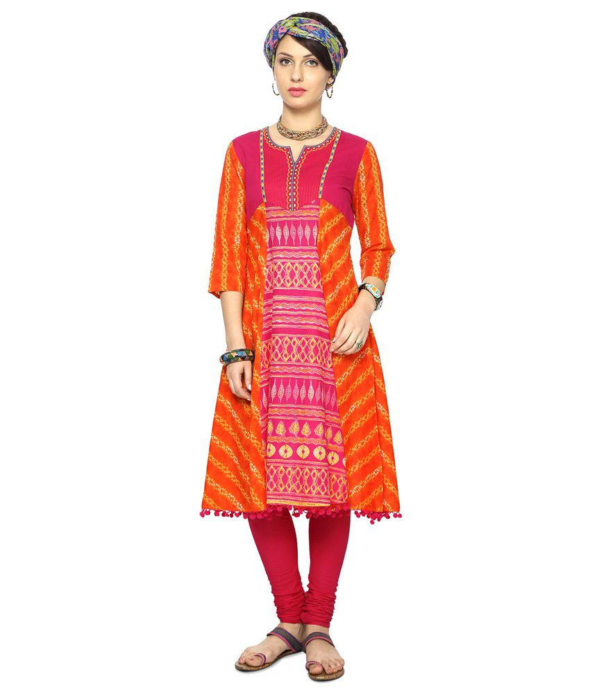9046b8ca0d7 Rangmanch by Pantaloons Orange Cotton Kurti - Buy Rangmanch by Pantaloons  Orange Cotton Kurti Online at Best Prices in India on Snapdeal