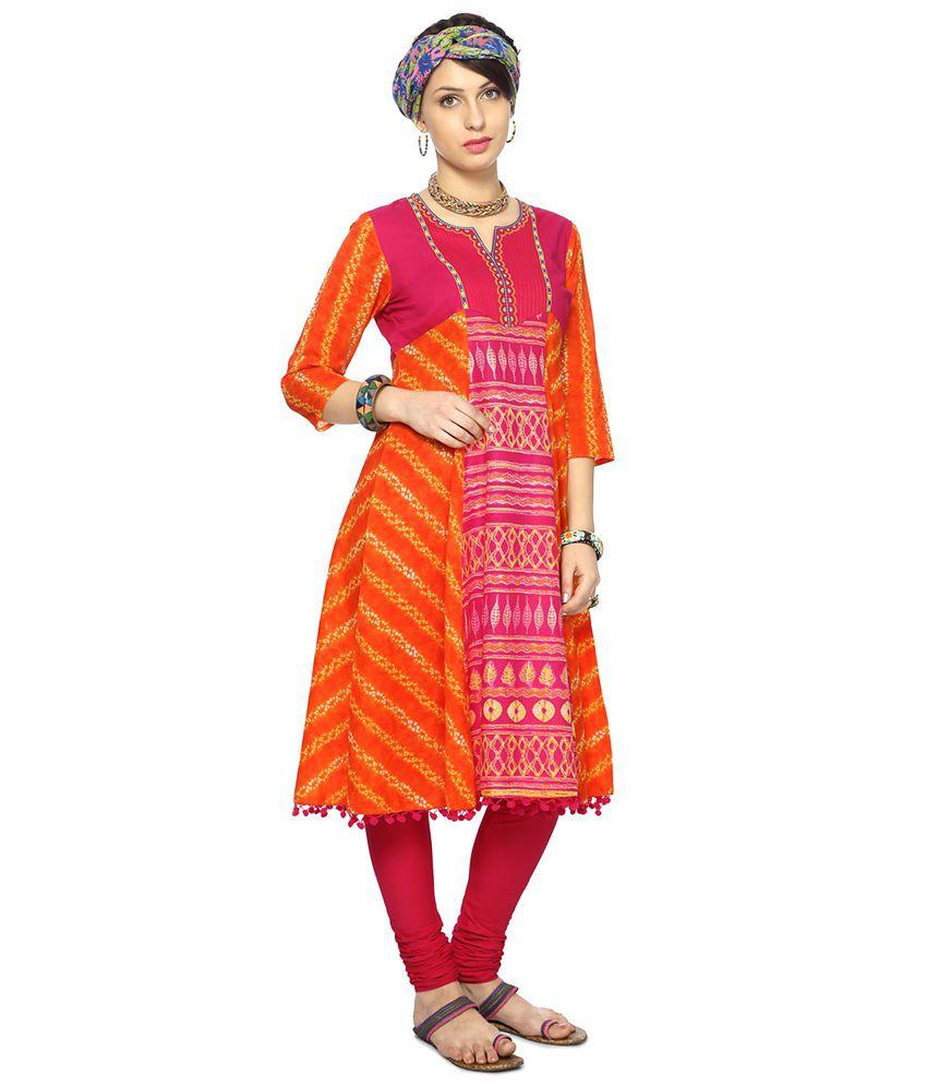 11cfae509f2 Rangmanch by Pantaloons Orange Cotton Kurti Rangmanch by Pantaloons Orange  Cotton Kurti ...