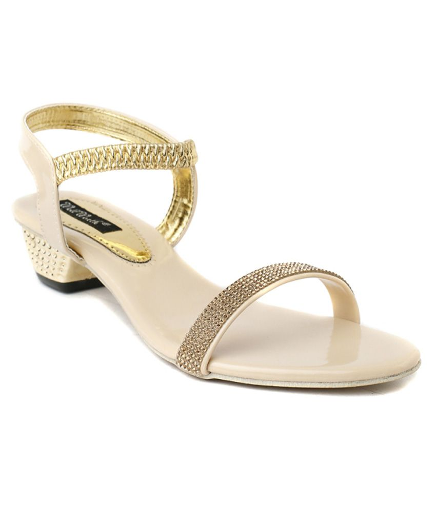 Wellworth Beige Patent Heeled Sandals