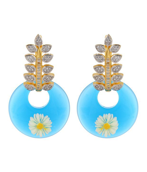 Adwitiya Collection Colour Spark Blue Copper Drop Earrings