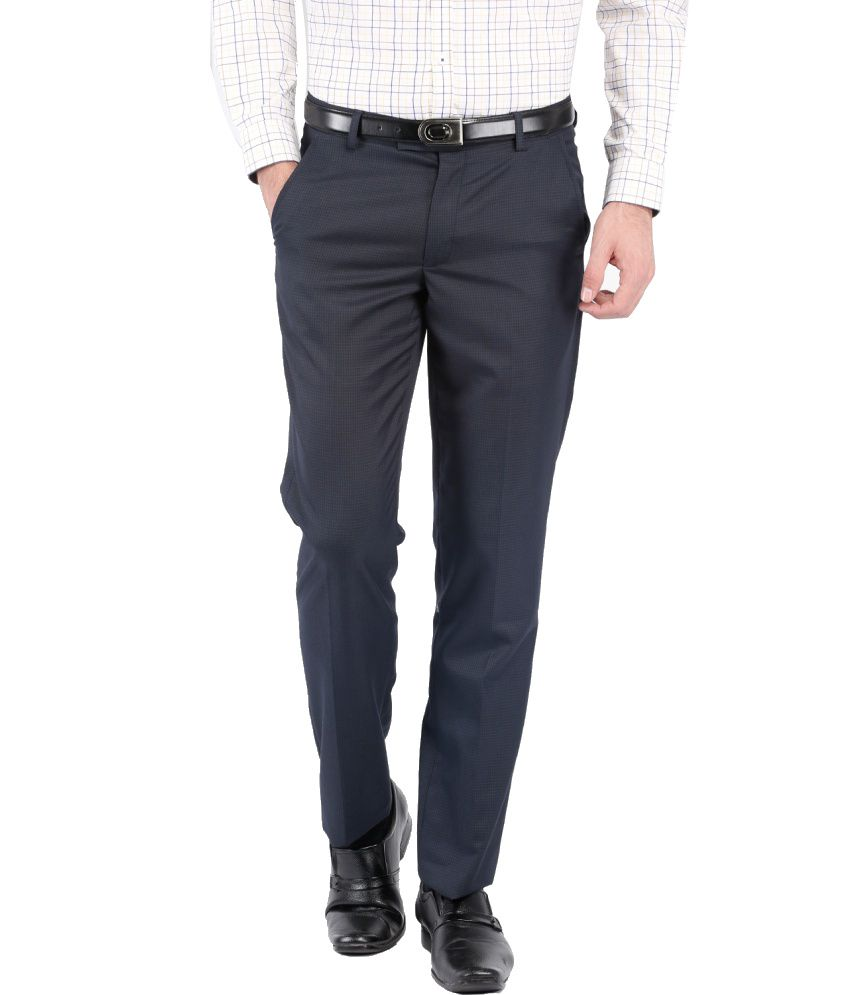 Black Coffee Navy Poly Viscose Formal Trouser