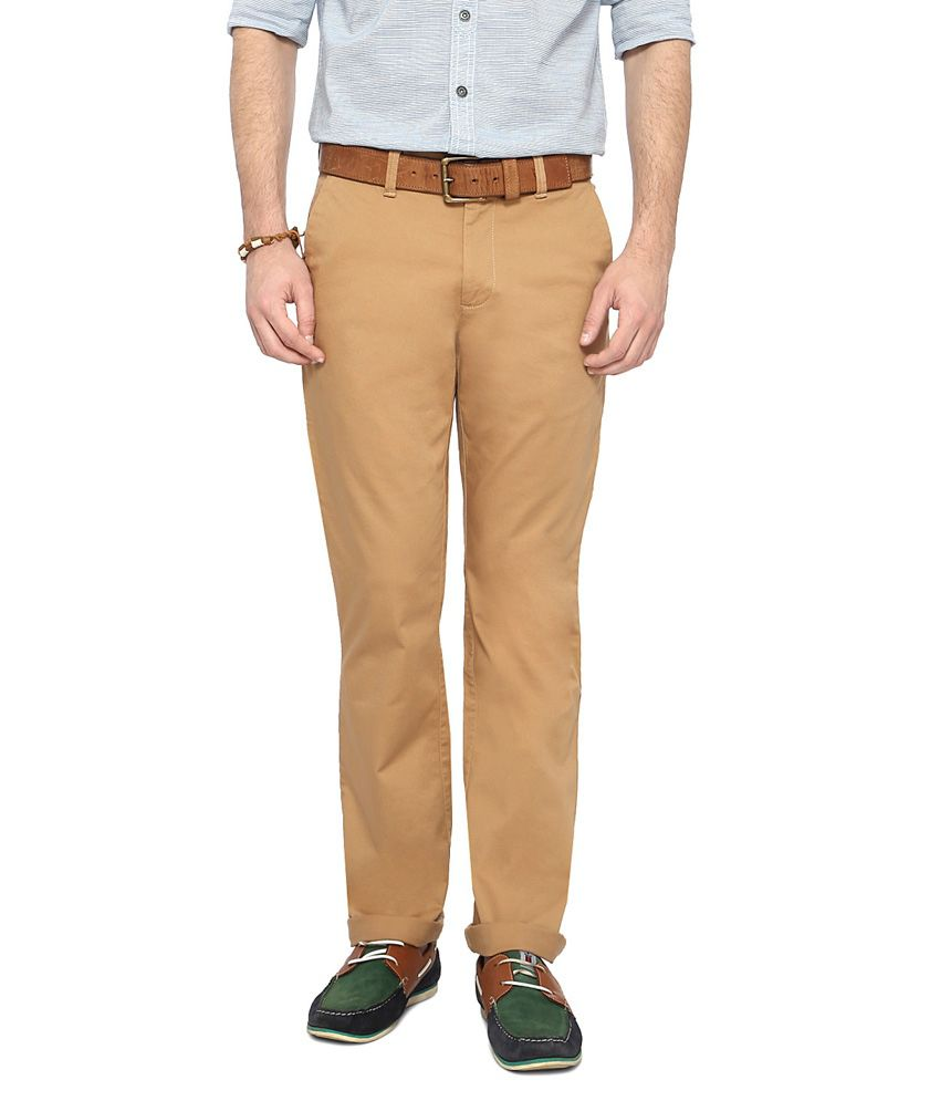 Byford by Pantaloons Khaki Slim Fit Flat Front Trousers