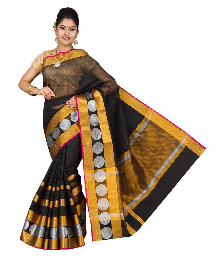 Korni Black Cotton Silk Saree