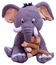 Cute & Friendly Elephant With Naughty Monkey Soft Toy-30cm