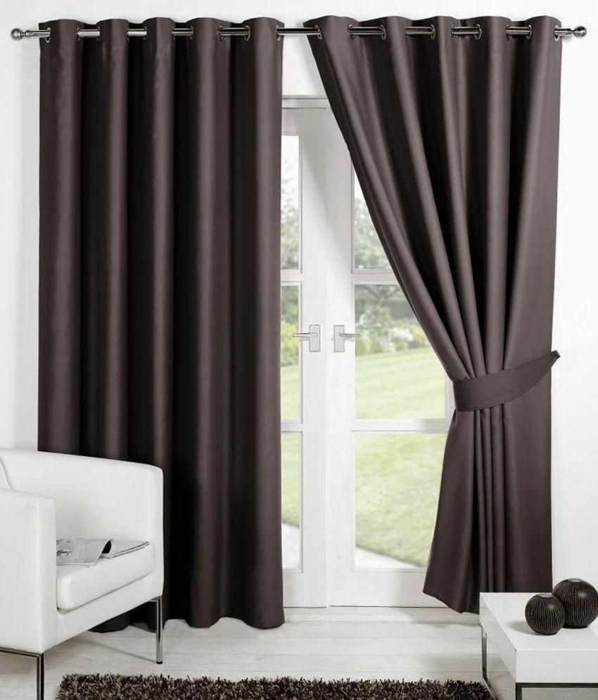 HOMEC Set of 2 Long Door Eyelet Curtains Solid Brown
