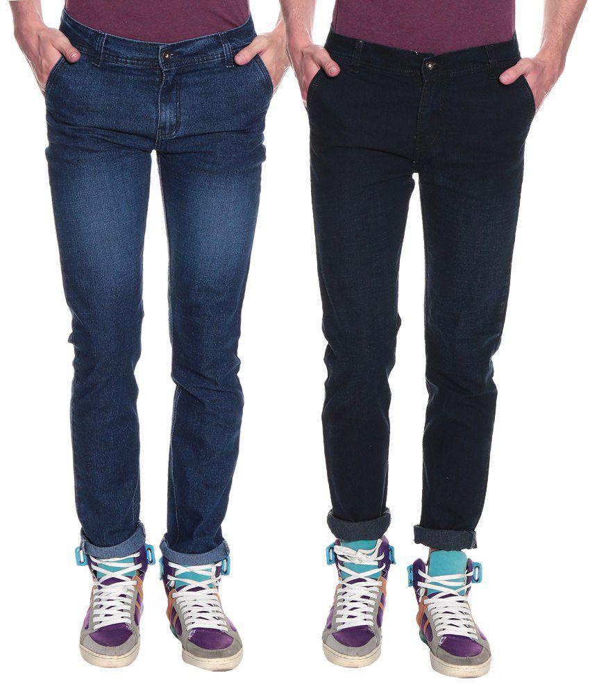 Pelican Black & Blue Regular Fit Men's Jeans- Pack of 2