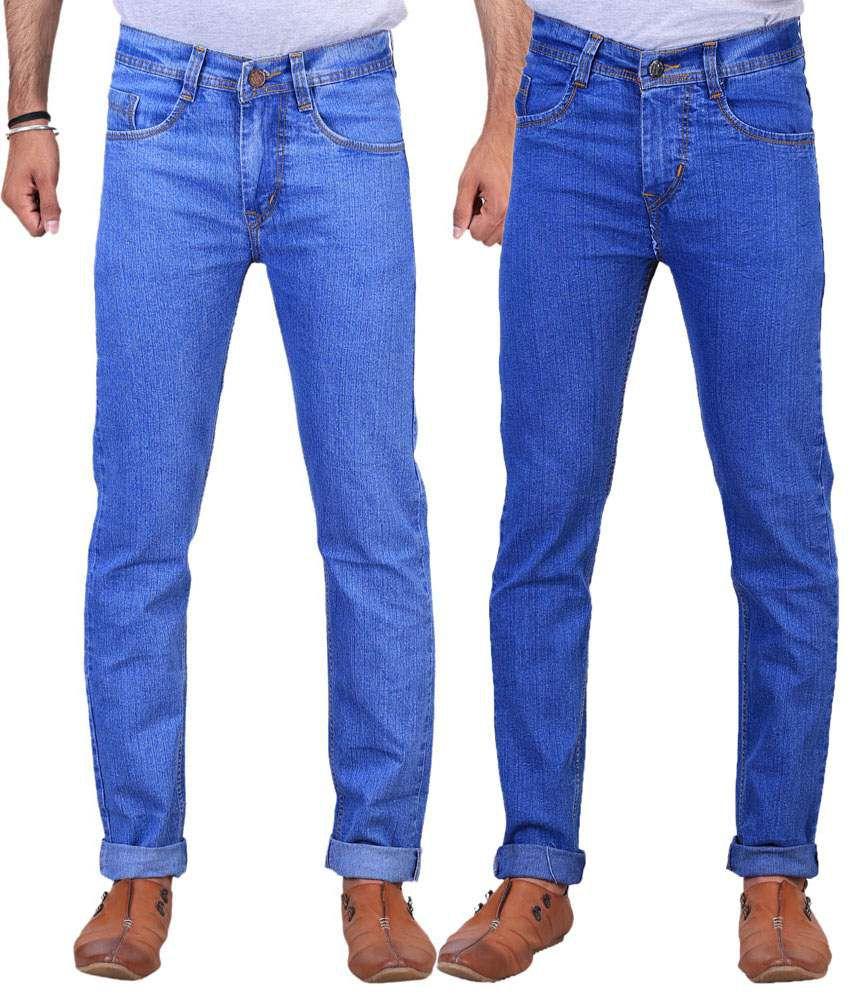 X-Cross Pack of 2 Ice Blue & Light Blue Regular Fit Jeans for Men