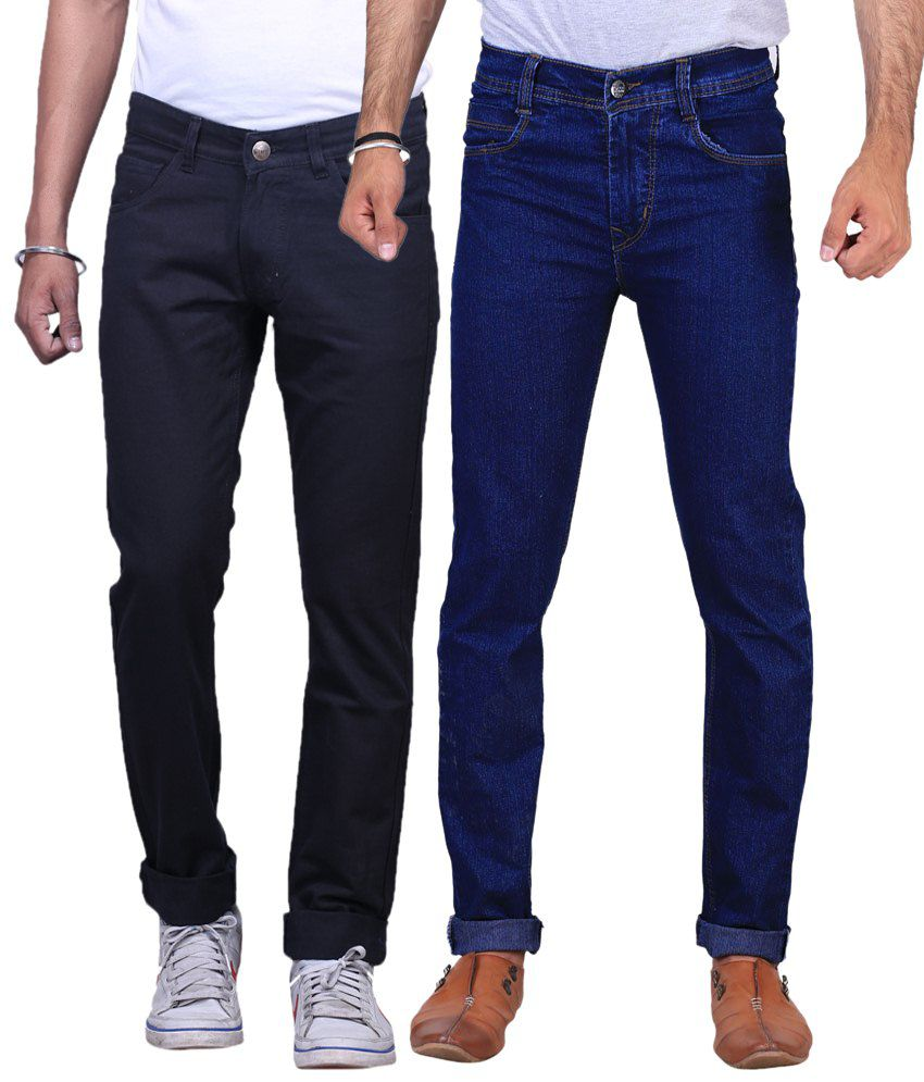 X-Cross Pack of 2 Black & Dark Blue Regular Fit Jeans for Men