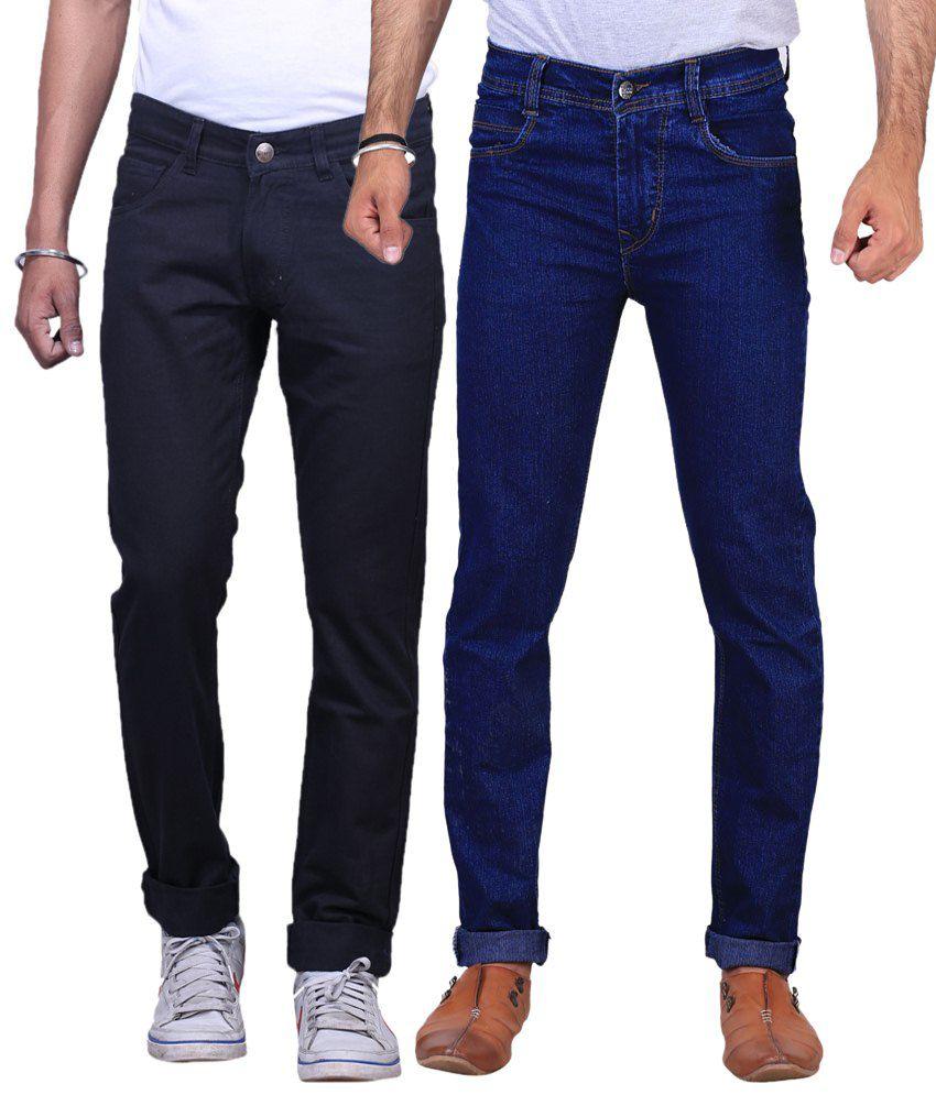 X-Cross Pack of 2 Black & Dark Blue Regular Fit Jeans for Men