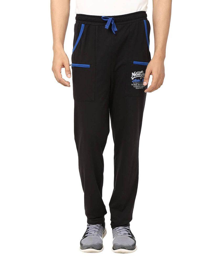 Flicker Hoods Black Premium Cotton Track Pant