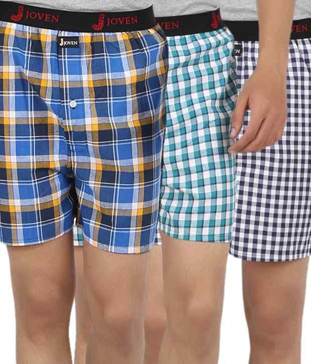099f72abdd9 Joven Assorted Checked Boxers Pack of 3 available at SnapDeal for Rs.569