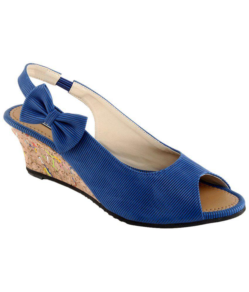 Kz Classics Blue & Brown Peep Toe Wedges for Women