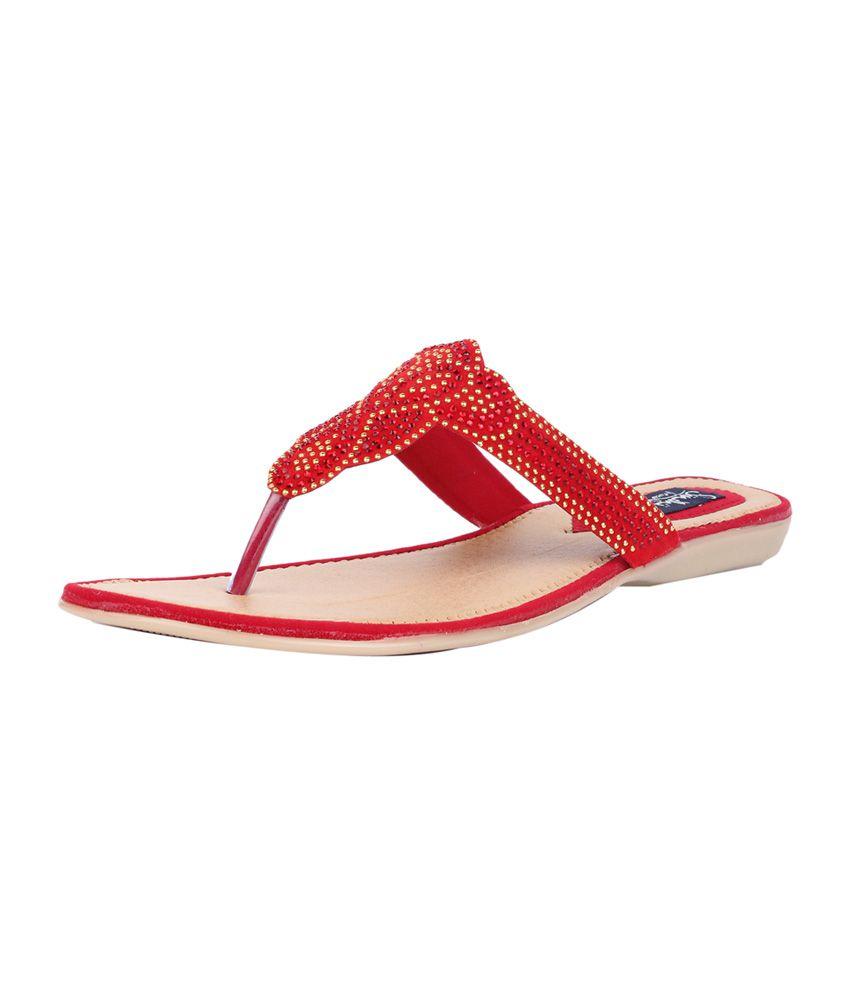 c5055e1107054 Sindhi Footwear Red Womens Flat Sandals Price in India- Buy Sindhi ...