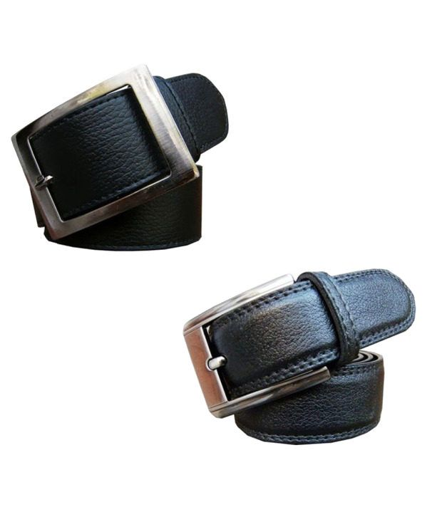 Winsome Deal Combo of Black Artificial Leather Formal Belts