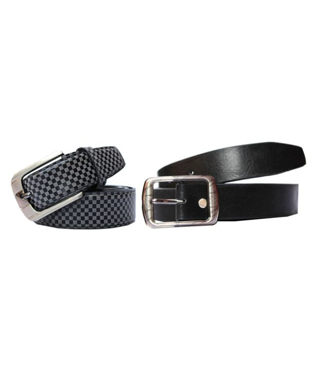 Winsome Deal Combo of Black Artificial Leather Casual Belts