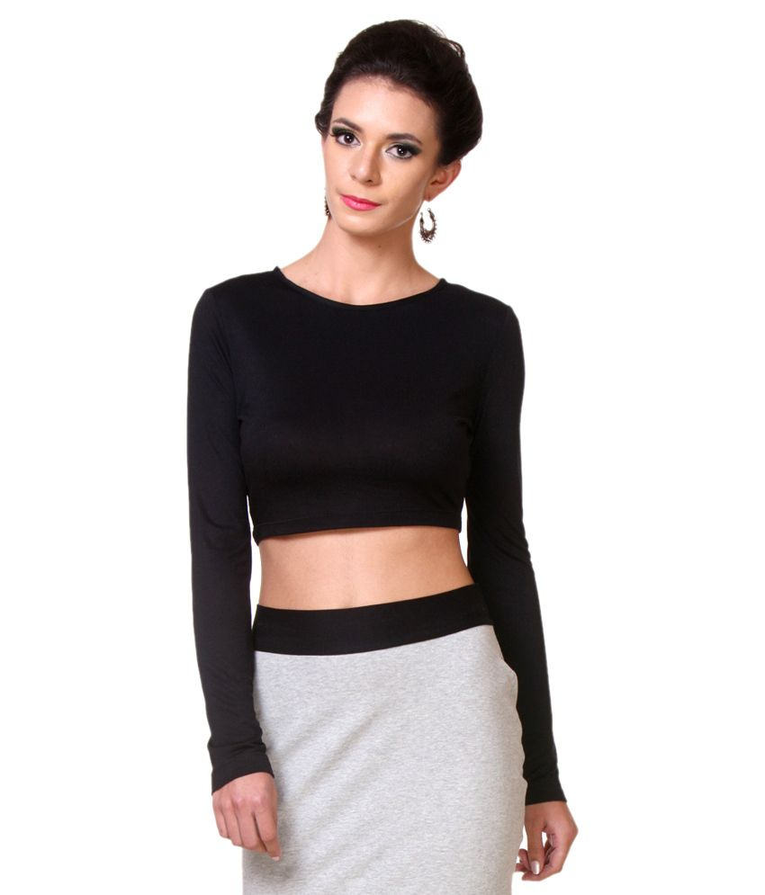 bae7732004a Zastraa Black Viscose Crop Top - Buy Zastraa Black Viscose Crop Top Online  at Best Prices in India on Snapdeal