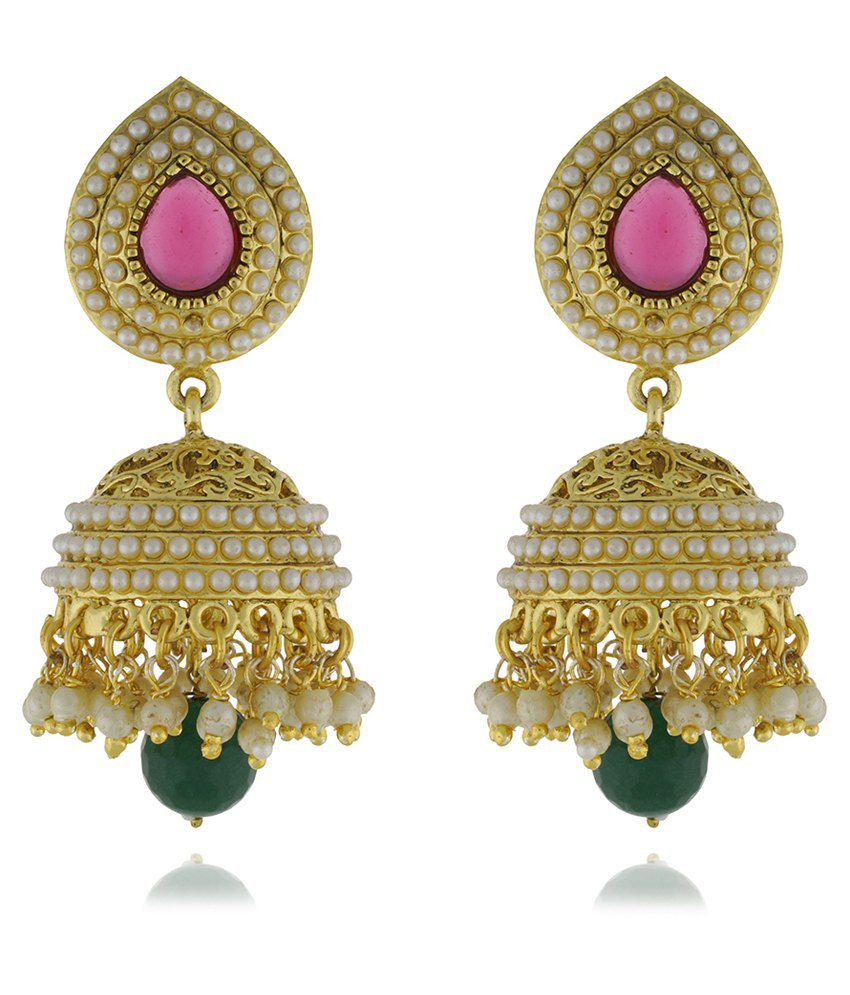 3317bf3526ec3 Chaahat Fashion Jewellery New Fancy Pearl Copper Jhumki Earring ...