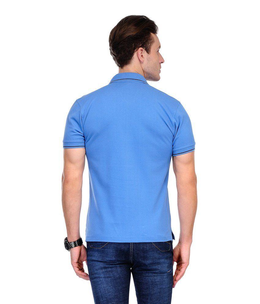 Cnmn Scottish Blue Cotton Half Sleeve Polo T Shirt Buy Cnmn