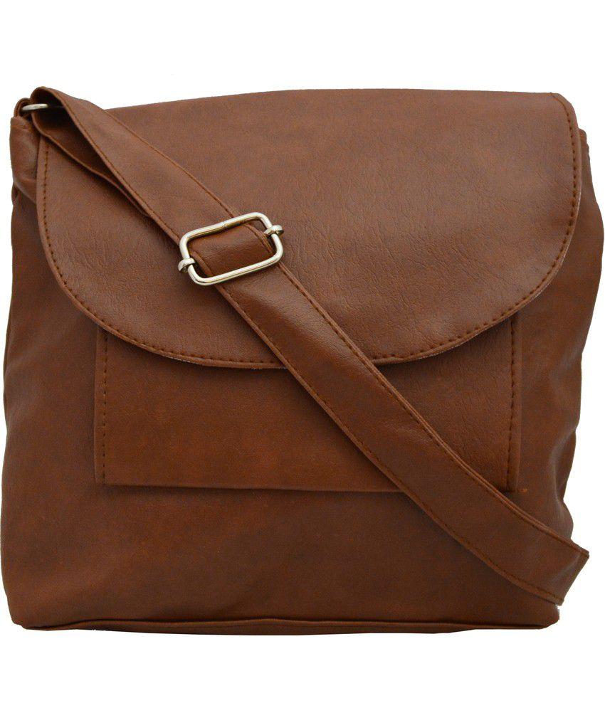 Regalovalle Brown PU Magnit Button Sling Bag