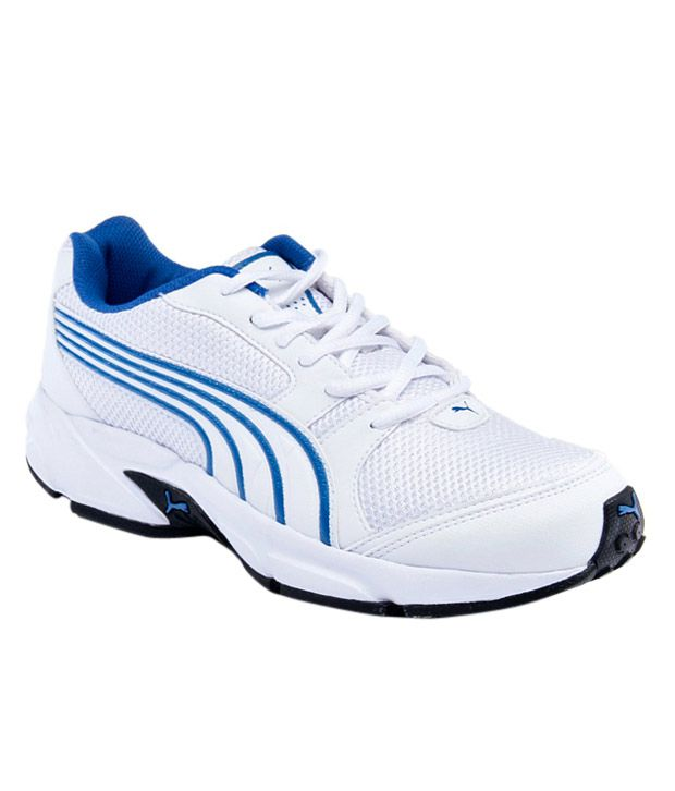 Puma White & Blue Lace Sport Shoes