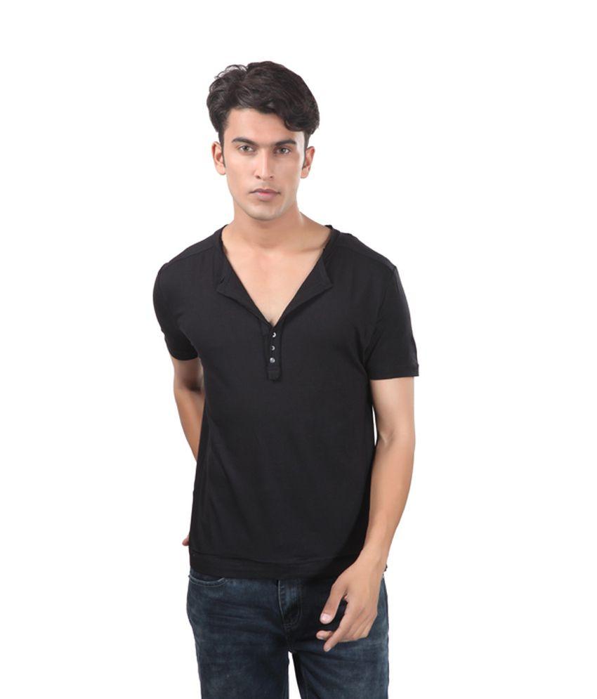 Uni Style Image Black Cotton Half Sleeve Henley T-Shirt