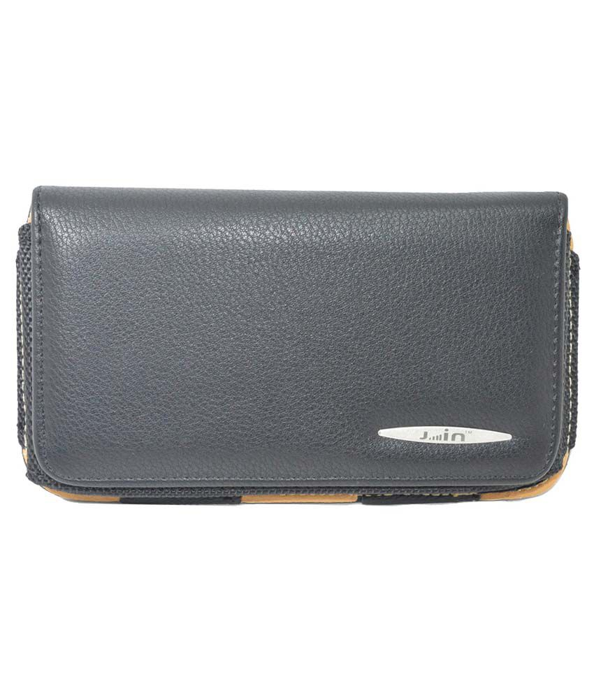 Indiacod Universal Black PU Leather Belt Pouch For Micromax Bolt A069 - Black