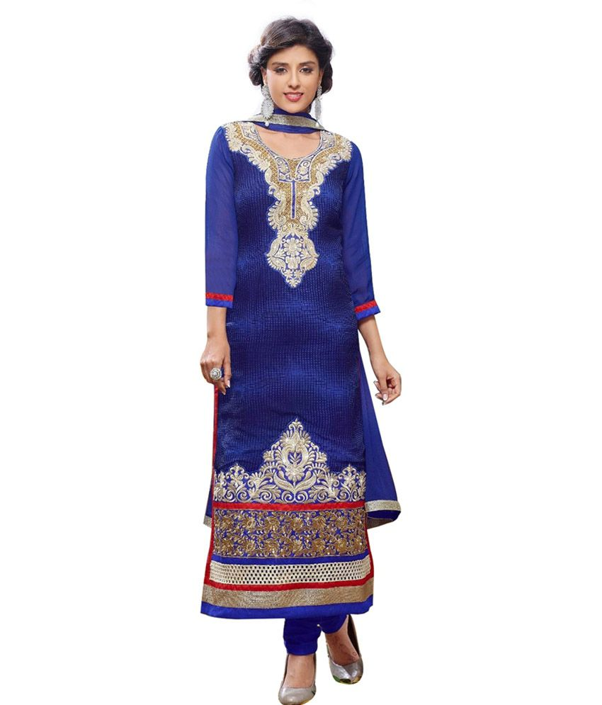 JK Creation Blue Faux Georgette Stitched Suit
