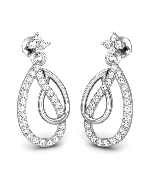 Candere Duedrop Diamond Earring White Gold 14K
