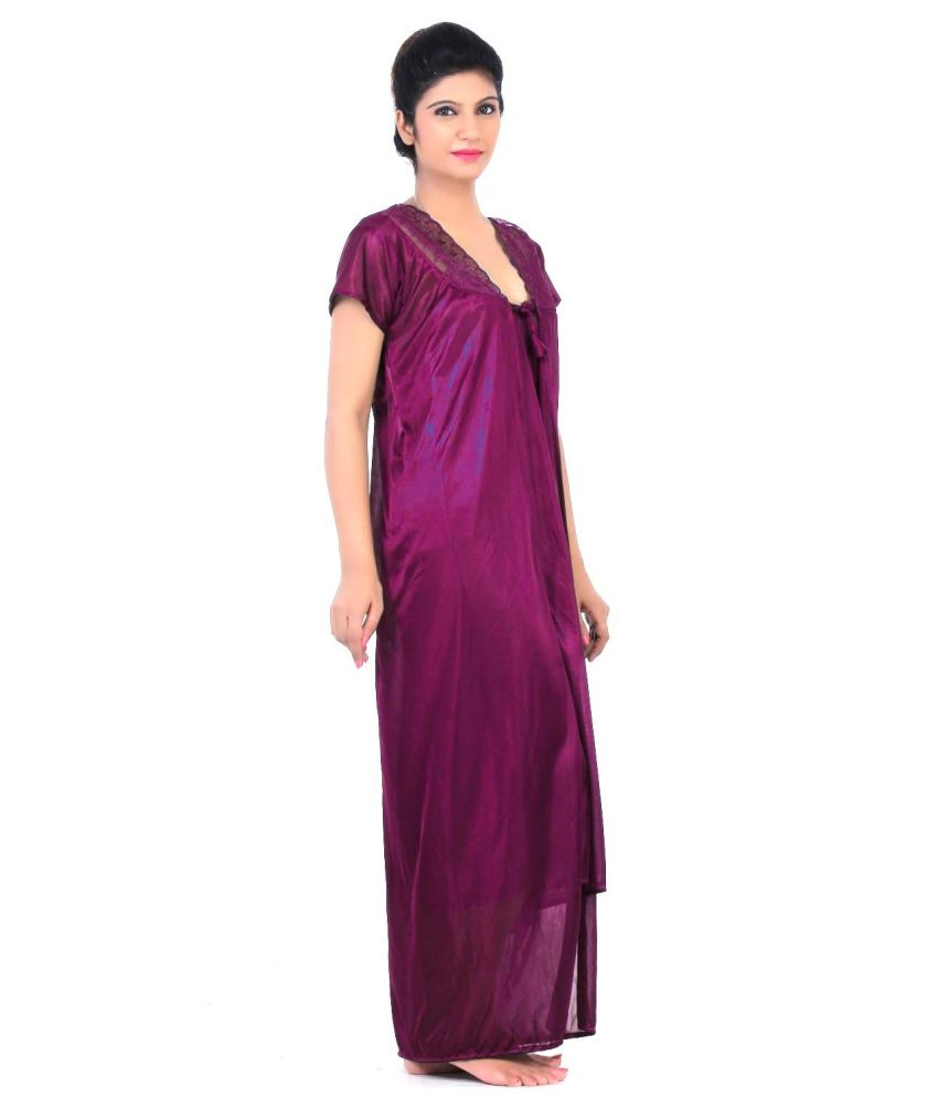 d6309dfdfb1 Buy Fabme Maroon Satin two piece Nighty Online at Best Prices in ...