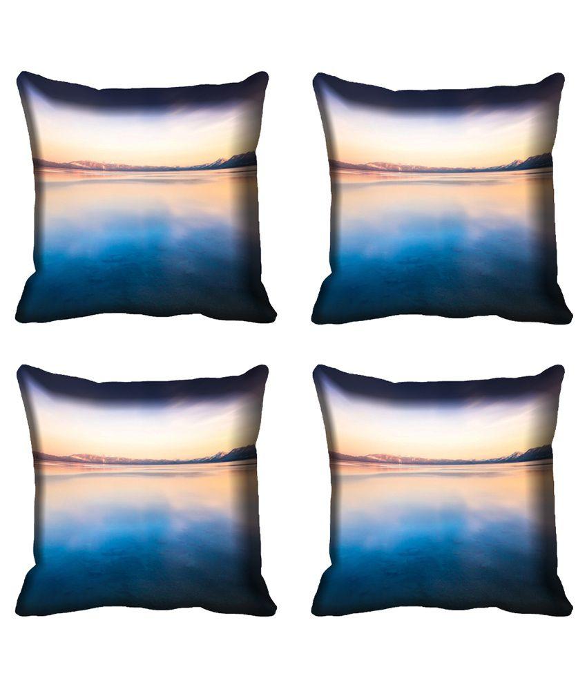Mesleep Multicolour Satin Nature Digital Printed Cushion Cover - 4 Pcs