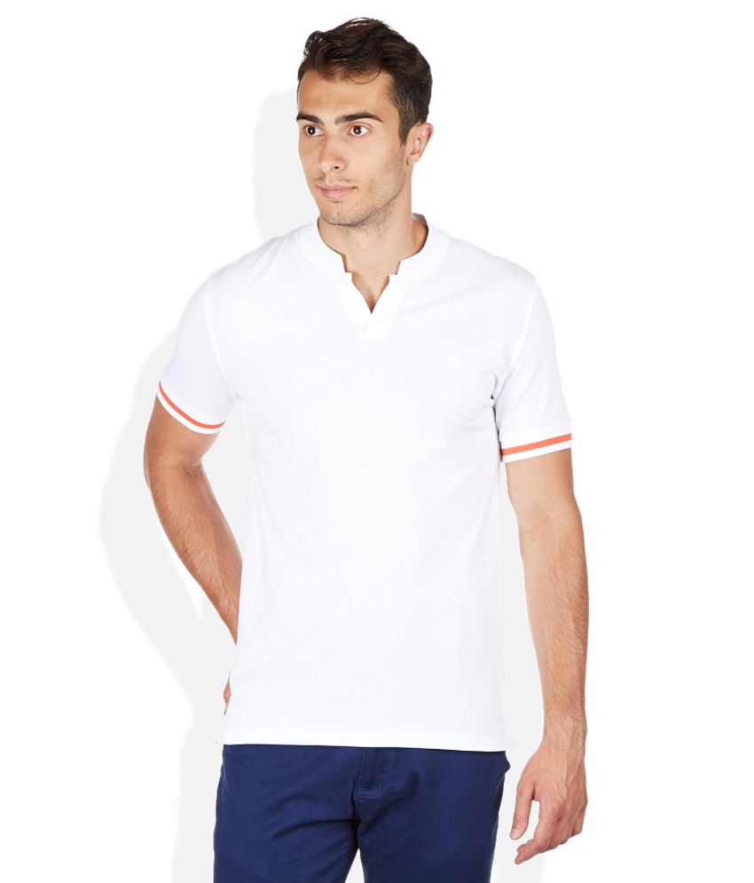 United Colors Of Benetton White Mandarin Collar T Shirt