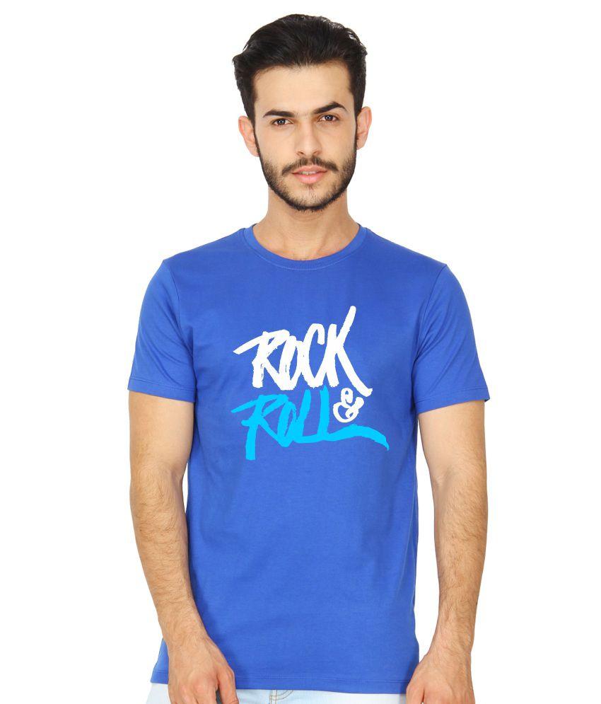 United Squares Blue Cotton T-shirt