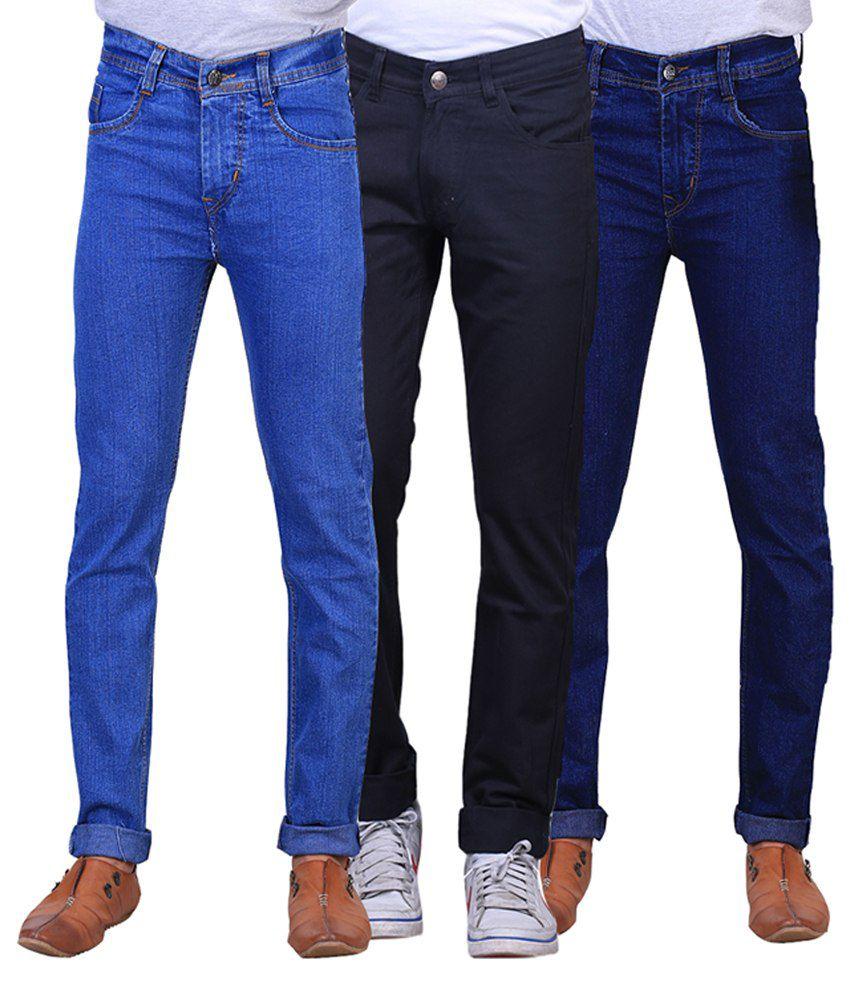 X-cross Black, Blue and Navy Blue Regular Fit Denim Jeans for Men (Pack of 3)