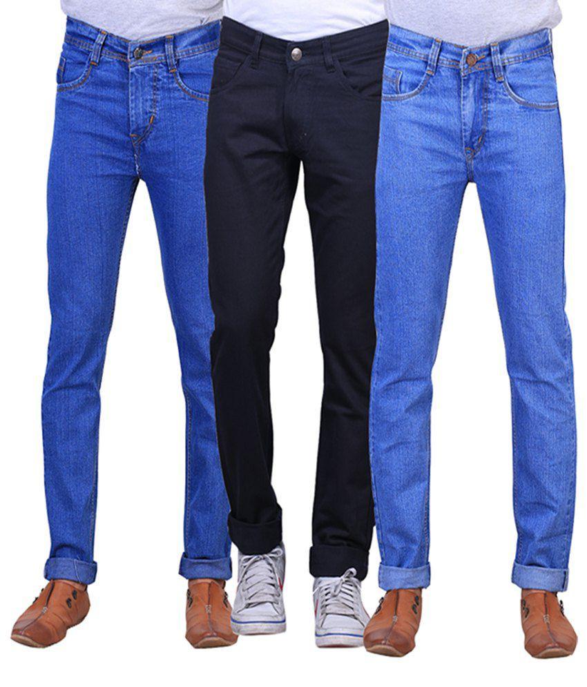 X-cross Blue & Black Denim Regular Fit Jeans for Men (Pack of 3)