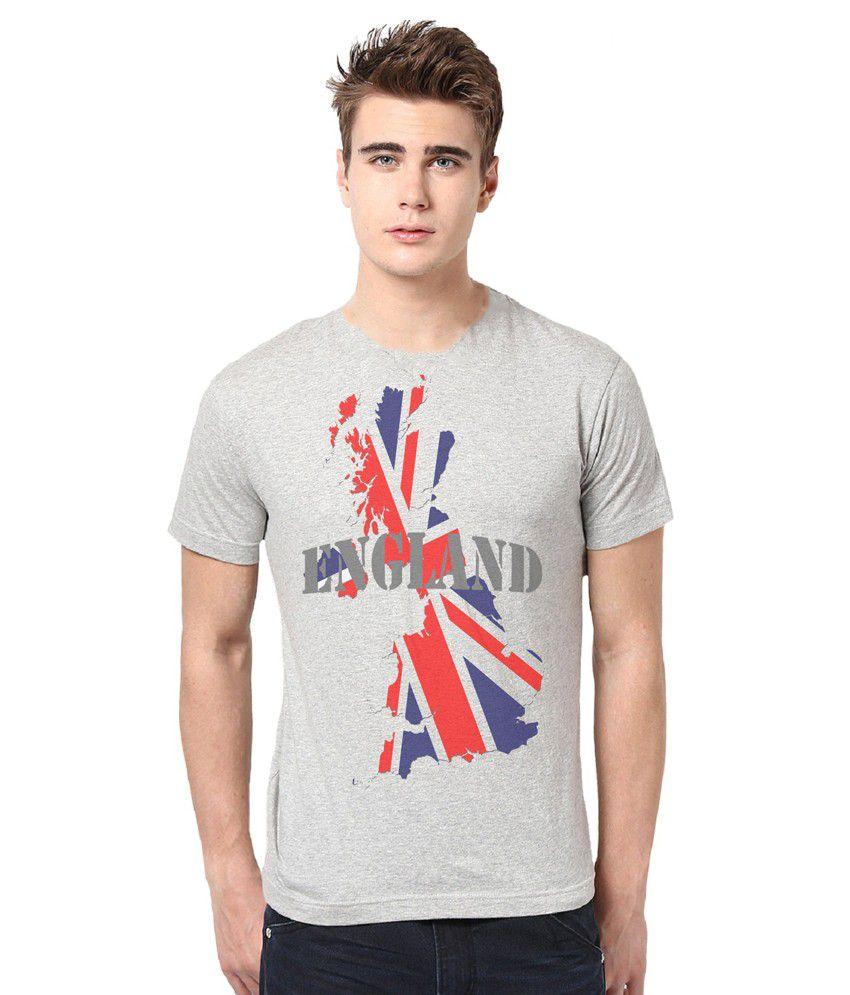 Alpha Scott Gray Printed Polyester Round Neck T Shirt