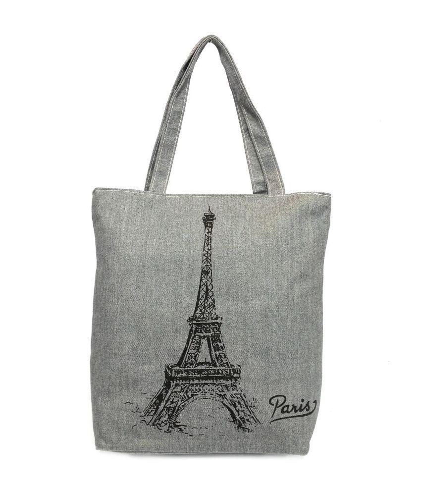 Belladona Gray Canvas Cloth Tote Bag