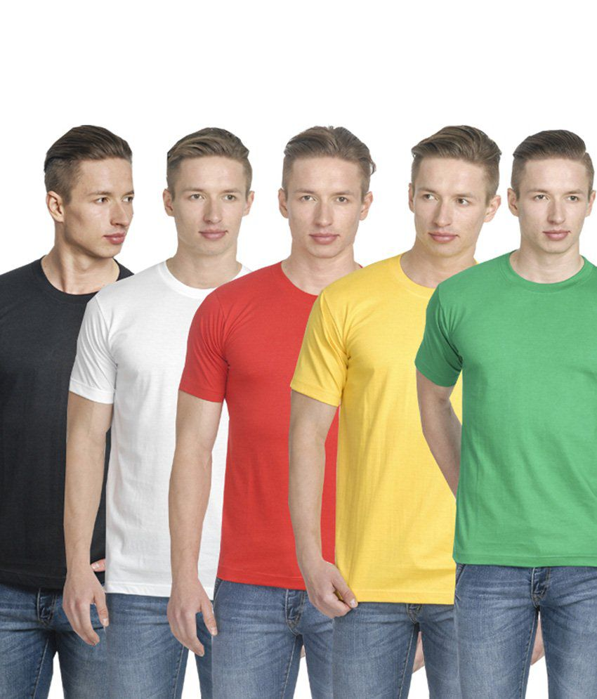Fundoo-T Multicolour Cotton Round T Shirt Pack Of 5