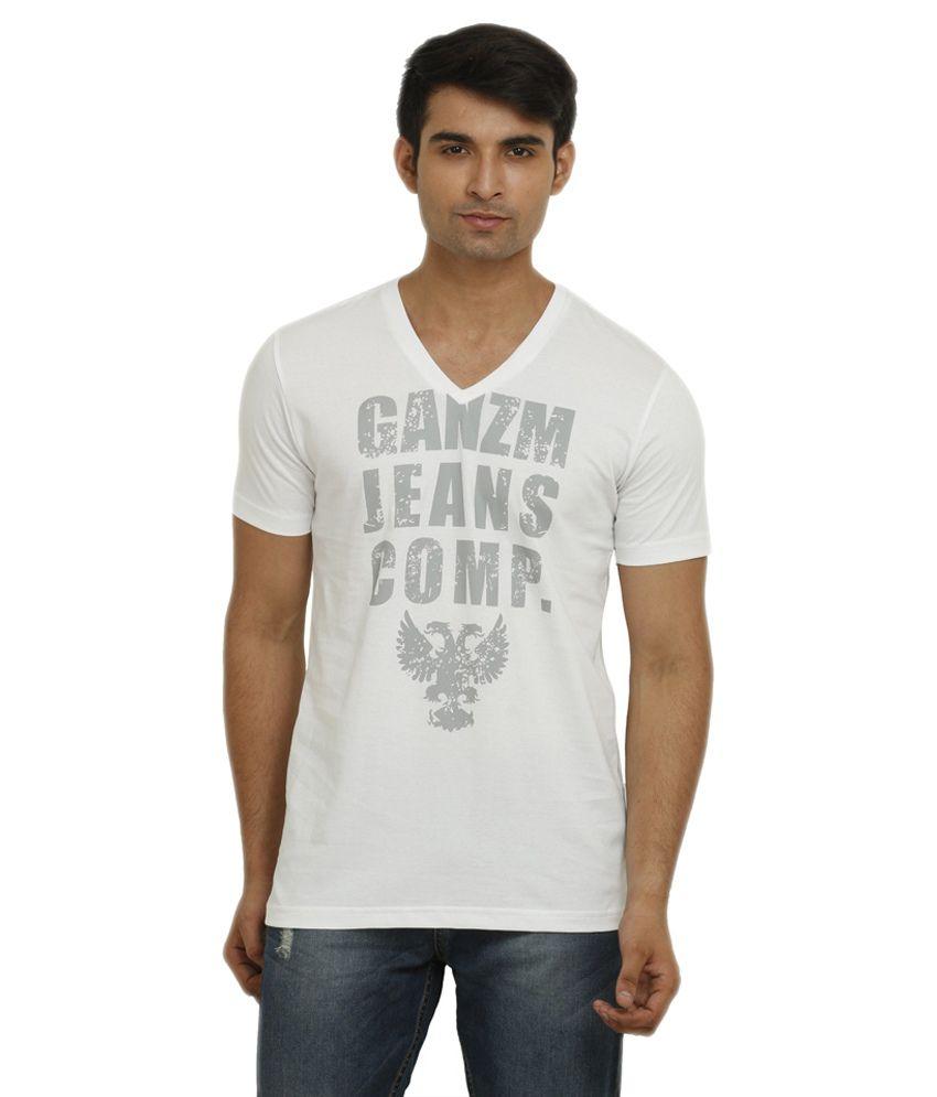GANZM Men Cotton V-Neck White T-Shirt