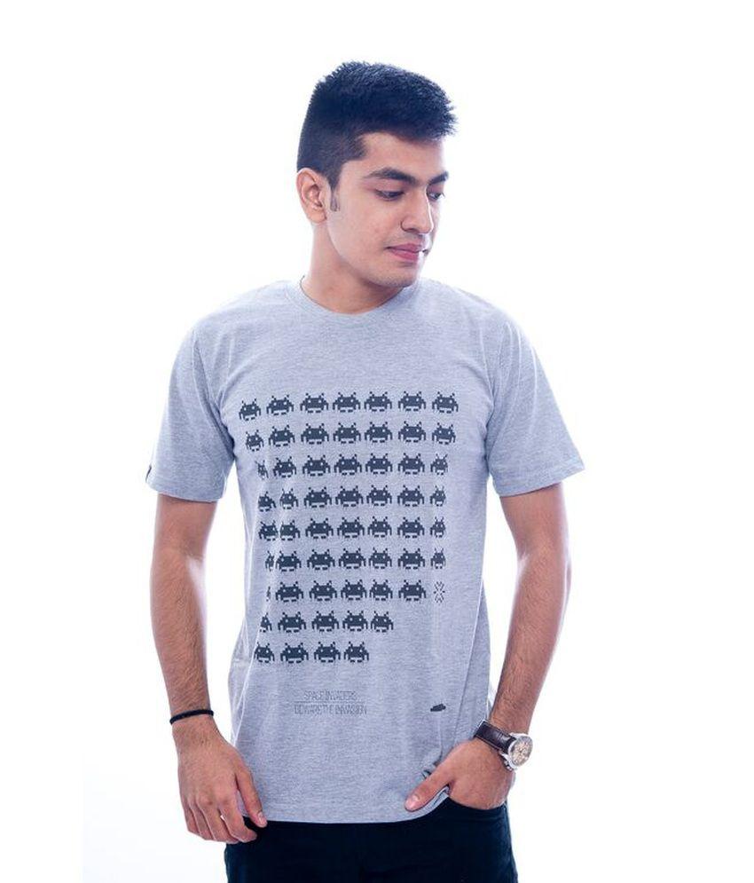 Urbanflux Grey Cotton T Shirt