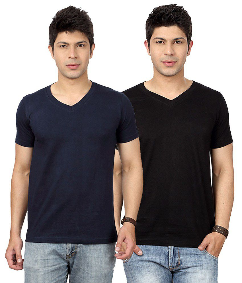 Entigue Navy Blue Black V Neck T Shirt Combo Pack Of 2